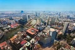 Ho Chi Minh flyg- sikt royaltyfria bilder