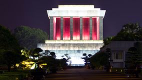 Ho Chi Minh Mausoleum at Night 16x9. Royalty Free Stock Image