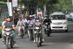 Ho Chi Minh miasta godziny szczytu ruch drogowy Zdjęcia Stock
