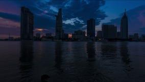 HO CHI MINH miasta miasta zmierzchu linia horyzontu - Timelapse zbiory