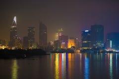 Ho Chi Minh miasto póżno przy nocą Fotografia Royalty Free