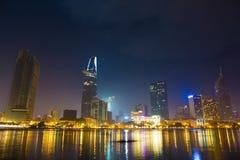 Ho Chi Minh miasto póżno przy nocą 2 Obraz Stock