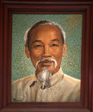 Ho Chi Minh peignant le vieux bureau de poste Saigon Image stock