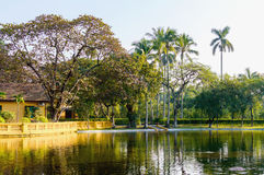 Ho Chi Minh`s Residence near the pond with fountain in Hanoi, Vietnam Stock Photos