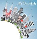 Ho Chi Minh Skyline con el espacio de Gray Buildings y de la copia ilustración del vector