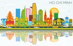 Ho Chi Minh Skyline con los edificios del color, el cielo azul y Reflectio libre illustration