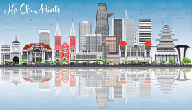 Ho Chi Minh Skyline with Gray Buildings, Blue Sky and Reflection Royalty Free Stock Photos