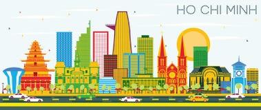 Ho Chi Minh Skyline med färgbyggnader och blå himmel stock illustrationer