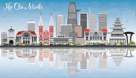 Ho Chi Minh Skyline med Gray Buildings, blå himmel och reflexion vektor illustrationer