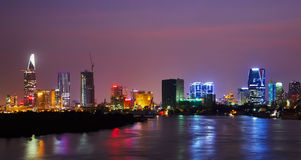 Ho Chi Minh skyline. Nighttime skyline of Ho Chi Minh City formerly known as Saigon Royalty Free Stock Photography