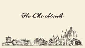 Ho Chi Minh skyline Vietnam vector drawn sketch. Ho Chi Minh skyline, Vietnam, vintage engraved illustration, hand drawn royalty free illustration