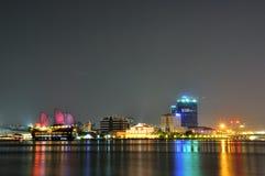 Ho Chi Minh-stad bij de nacht royalty-vrije stock afbeelding