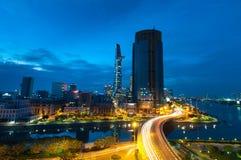 Ho-Chi-Minh-Stad, Vietnam bij nacht Royalty-vrije Stock Afbeelding