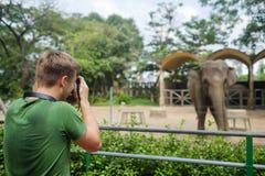 Ho Chi Minh stad, Vietnam - December 05, 2017: man att fotografera elefanten med hans kamera i Ho den minimum zoo för shien, Viet Royaltyfri Bild