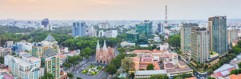 Ho Chi Minh stadspanorama Arkivbilder
