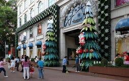 Ho Chi Minh-Stadt, gehende Straße, Weihnachtsjahreszeit Lizenzfreie Stockbilder