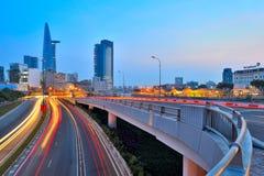 Ho Chi Minh Stadt im Sonnenaufgang Stockfotografie