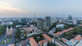 Ho Chi Minh-Stadtansicht von der Spitze des Gebäudes stockbild