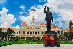 Ho Chi Minh statue in front of City Hall, Vietnam. Ho Chi Minh statue in front of City Hall, is known as Ho Chi Minh City People`s Committee Head office Saigon Royalty Free Stock Image