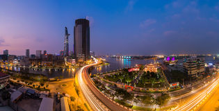 HO CHI MINH, VIET NAM. HO CHI MINH, VIETNAM - FEBRUARY 7, 2015 : Panoramic views from roads and bridges Nguyen Tat Thanh Khanh Hoi Ben Nghe canal crossing in Ho Stock Photography
