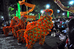 Dragon dance at Tet Lunar New Year Festival, Vietnam Royalty Free Stock Photos