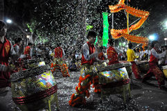 Drummers performing live during the Tet New Year, Vietnam Stock Photography