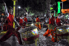 Drummers performing live during the Tet New Year, Vietnam Stock Photo