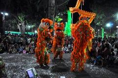 Danza del dragón en el festival lunar del Año Nuevo de Tet, Vietnam Fotos de archivo