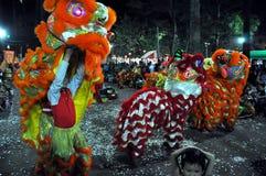 Drakedans på festivalen Tet den Lunar för nytt år, Vietnam Royaltyfri Fotografi