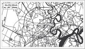 Ho Chi Minh Vietnam City översikt i Retro stil skisserar kartlägger vektor illustrationer