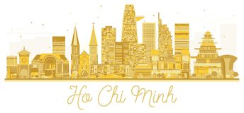 Ho Chi Minh Vietnam City skyline golden silhouette. Vector illustration. Simple flat concept for tourism presentation, banner, placard or web site. Business royalty free illustration