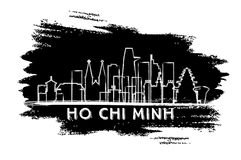 Ho Chi Minh Vietnam City Skyline Silhouette. Hand Drawn Sketch. Business Travel and Tourism Concept with Historic Architecture. Vector Illustration. Ho Chi royalty free illustration