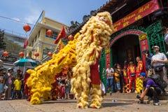 Ho Chi Minh, Vietnam - 18 de febrero de 2015: Baile del león para celebrar Año Nuevo lunar en la pagoda de Thien Hau Foto de archivo libre de regalías