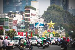 Ho Chi Minh, Vietnam - 29 January, 2015: A congested road with motorist on Ho Chi Minh street in Vietnam Stock Photography