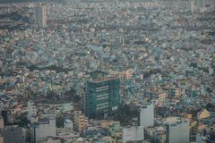 Ho Chi Minh, Vietnam - 29 January, 2015: View on slums of Saigon. Vietnam, from the viepoint tower. Smog in the city Stock Photo