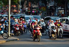 Ho Chi Minh, Vietnam March 07, 2015: Busy traffic in the old quarter 2015 in Ho Chi Minh Stock Image