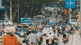 HO CHI MINH, VIETNAM - OCTOBER 13, 2016: Peak hour. Dense traffic in Ho Chi Minh City. Vietnam. stock video footage