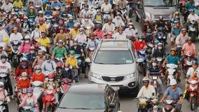 HO CHI MINH, VIETNAM - OCTOBER 13, 2016: Peak hour. Dense traffic in Ho Chi Minh City. Vietnam. stock video