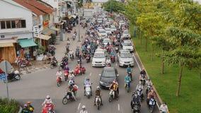 HO CHI MINH, VIETNAM - OCTOBER 13, 2016: Peak hour. Dense traffic in Ho Chi Minh City. Vietnam. stock footage