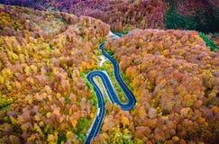 Ho för slingrig väg passerandet för högt berg för skog i Transylvania arkivfoto