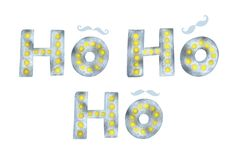 Ho Ho Ho Gold and silver glittering elegant modern brush lettering and mustache design on a wight background Vector. Lettering. For your designs: posters Royalty Free Stock Photography