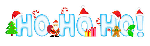 Ho ho ho. Christmas decoration with Santa hat, candy canes , gifts, Santa Claus, Christmas trees, holly and berries, gingerbread man and Ho ho ho Christmas text Stock Photography