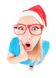 Ho ho ho - excited Santa girl Stock Photos