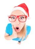 Ho ho ho - excited Santa girl Stock Photos