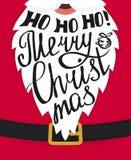 Ho-ho-ho för hälsningkort för glad jul mall stock illustrationer