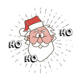 Ho-ho-ho free typography lettering and Santa Claus Head with vintage sun burst frame Stock Photos