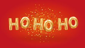 Ho ho ho Gold Balloons New Year. S, 2018 Happy new year, Gold Letter Balloons for party decoration, Alphabet Letter balloon, Golden balloon on red stock illustration