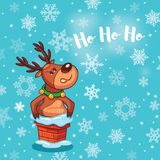 Ho ho ho. Holidays card with cute cartoon deer Royalty Free Stock Images