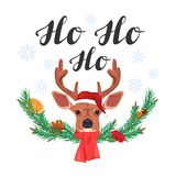 Ho ho ho. lettering with deer and fir branches vector illustration
