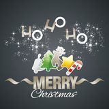 Ho-ho-ho Merry Christmas color elements black vector. Stardust gold ribbon Royalty Free Stock Photos